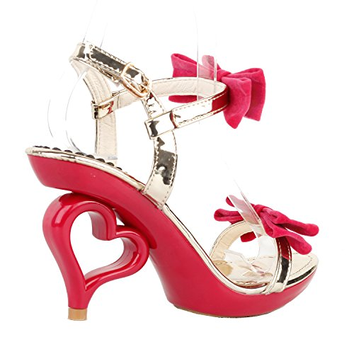 Heart Ankle Bride Sandals Story Show Bows Strappy Heels Red Wedding Double Strap Dancing SM33101 E61w0wq