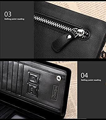 Egmy/® Quality Product Curewe Kerien Men Leather Card Cash Zip Wallet Long