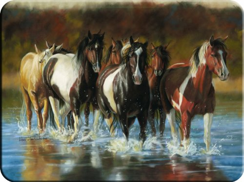 River's Edge Tempered Glass Cutting Board with Image of Horses Trotting through a Shallow River (Rush Hour Horses, 16-Inchx12-Inchx.5-Inch)