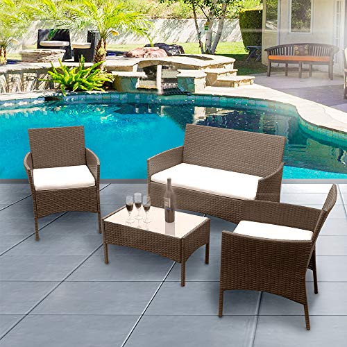 Luckycloud 4 Pieces Outdoor Patio Furniture Sets Rattan Wicker Chair Set with Cushion Coffee Table for Lawn Garden Porch Pool Courtyard Backyard Brown