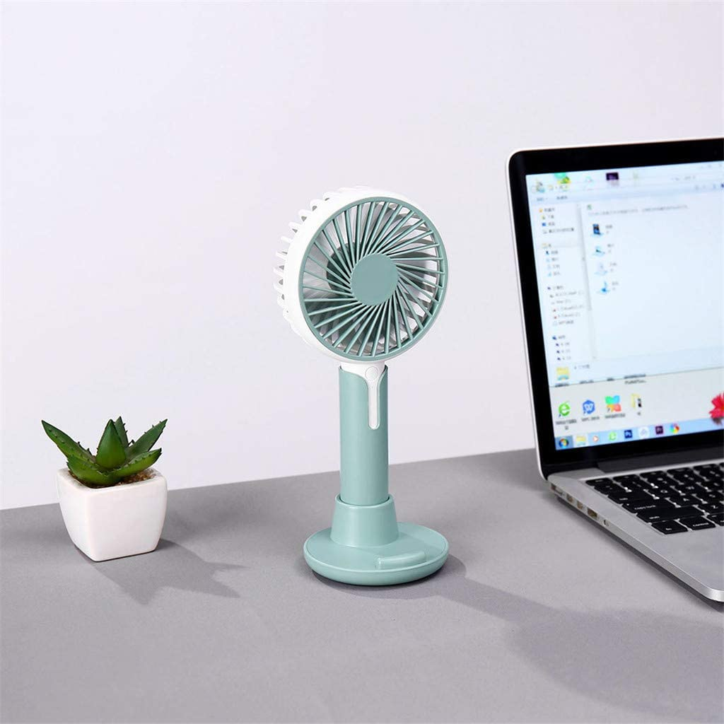 White Wffo Mini Handheld Fan,Personal Portable Fan Cooling Electric Fan with USB Rechargeable Battery Operated Cooling Folding Electric Fan for Office Room Outdoor Household Traveling