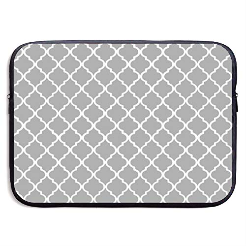 Moroccan Tile Gray and White Lattice Laptop Sleeve