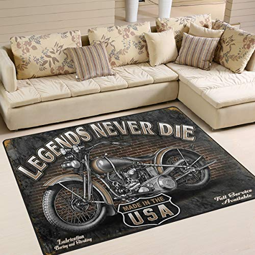 Retro Style Motorcycle Area Rug 5'x 7', Educational Polyester Area Rug Mat for Living Dining Dorm Room Bedroom Home Decorative