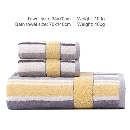 Bath towels sets, Cotton craft Quick drying Soft and comfortable Hotel quality High tearing fastness and absorbent Solid color Adult Multipurpose-Gray-yellow 70X140cm(28x55inch) (Blue Towels And Yellow)