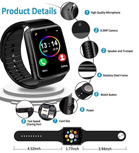 Smart Watch for Android Phones 2018 Bluetooth Smartwatch Android Phone Watch Waterproof Smart Watches Touchscreen with Camera Compatible IOS iphone X 8 7 6 6S plus Android Samsung for Women Man Black by Luckymore (Image #5)