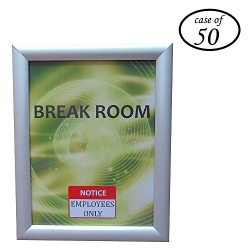 - Case of 50, HAITIAN Aluminum Snap Poster Frame Wall Type, 8.5 x 11 Inch Paper Size Front Loading, Color Silver