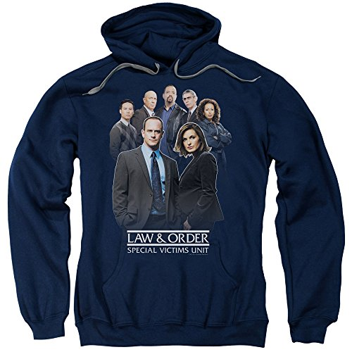 Trevco Law and Order SVU Team Unisex Adult Pull-Over Hoodie for Men and Women, Medium Navy