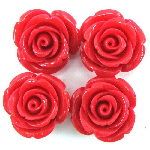 ShopForAllYou Design Making 8 24mm Synthetic Coral Carved Rose Flower Pendant Bead Magenta