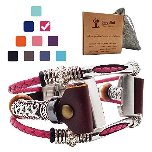 Smatiful Charge 3 Bands, Gunmetal Knot and Other Tibetan Silver Parts (Not Sterling Silver) not for Toddlers and Teens, Adjustable Replacement Sport Straps for Fitbit Charge 3,Blush Red Shockpink