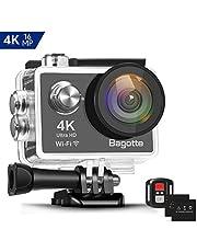 Bagotte 4K 16MP Action Cam Wi-Fi Subacquea Ultra HD Sport Impermeabile 30M Immersione Action Camera 170° Grandangolare Camera con 2 Batterie,Telecomando 2.4G e Kit Accessori