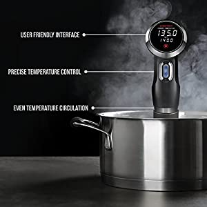 Chefman Sous Vide Immersion Circulator w Precise Temperature Programmable Digital Touch Screen Display and Easy to Use Controls Recipe App Included 1100 Watts Black
