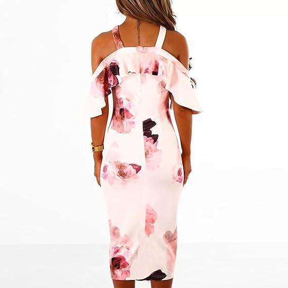 Yesmile 💋💝Vestido de Mujer Vestidos Casual Sin Mangas Con Estampado Floral Sin Mangas Para Mujer Vestido Sin Tirantes Sin Tirantes (Rosado, S): Amazon.es: ...