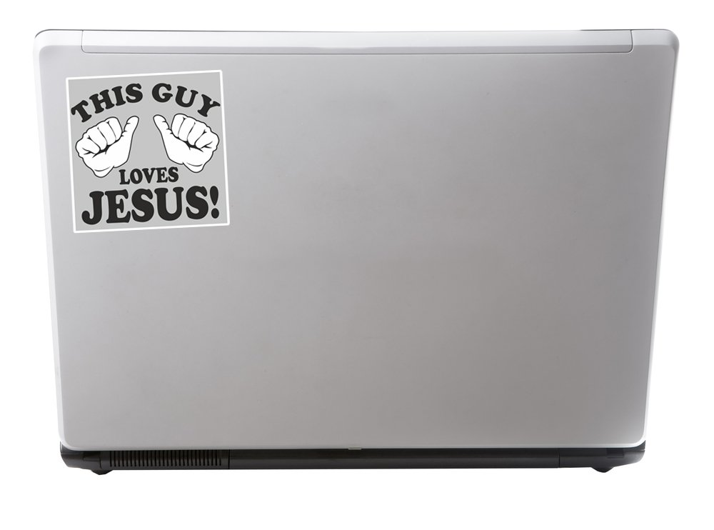 2 x 30cm//300mm This Guy Loves Jesus Vinyl Stickers Travel Luggage #10193