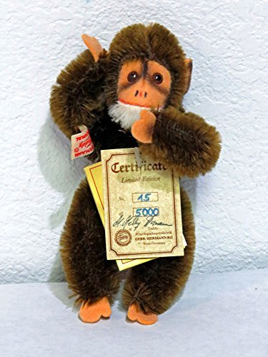 Hermann Teddy Original 'MINI MONKEY' 6.5 inches Brown #15 of 5,000. 100 % Mohair. Signed by G.G. Hermann ()