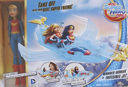 Wonder Woman Invisible Jet (DC Super Hero Girls WONDER WOMAN Action DOLL & INVISIBLE JET Playset w ROLLING WHEELS & Shooting PROJECTILE (2016))