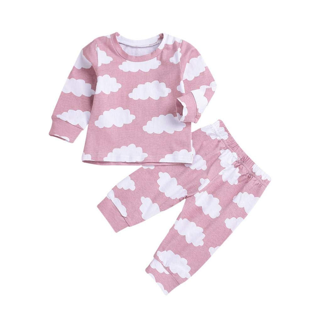 Infant Autumn Cartoon Pajamas Sets,Jchen(TM) Newborn Baby Little Boy Girl Long Sleeve Cloud Print Tops Pants Outfits 0-3 Years Old (Age: 18-24 Months, Pink)