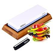 #LightningDeal 75% claimed: Sharpening Stone, 2-IN-1 Whetstone, Tacklife 1000 / 6000 Grit Knife Sharpener, with Non-Slip Bamboo and Rubber Base, Ideal Mother's Day Gift | HSS1A