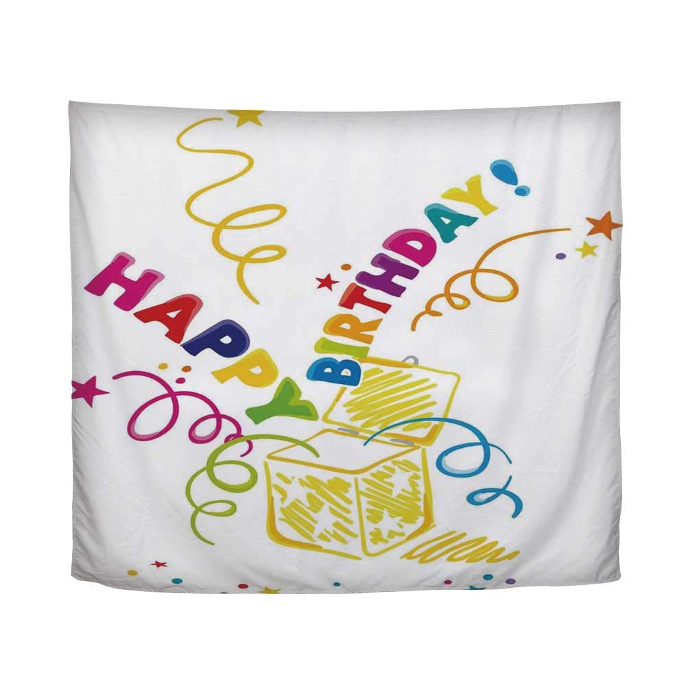 YOLIYANA Birthday Decorations,Surprise in a Box Doodle Style Cheerful Spirals Confetti and Stars,61'' L x 90'' W