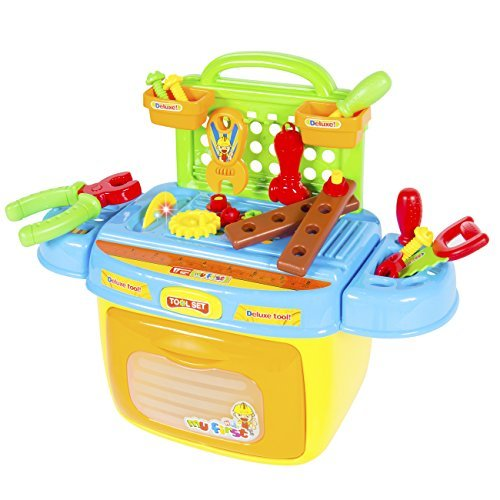 Best Choice Products 14-Piece Pretend Tool Box Playset w/ Lights and Sounds, Saw, Screwdriver, Wrench- Multicolor