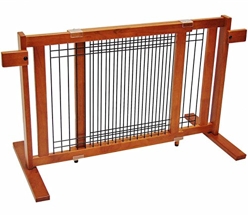 Crown Pet Products 21-Inch High Free Standing Wooden Pet Gate, Fits Openings 27