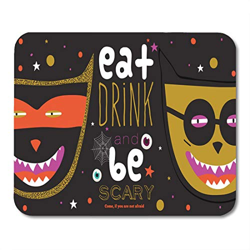 Emvency Mouse Pads Bright Trick Treat in Halloween Cute Funny Evil Fearsome Mouse Pad for notebooks, Desktop Computers mats 9.5