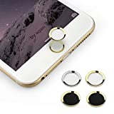 PAMISO 0.4mm Home Button Sticker(support Fingerprint Indentification System Touch Id)for Iphone 5s Iphone 6 Iphone 6 Plus (Gold-Ring White)