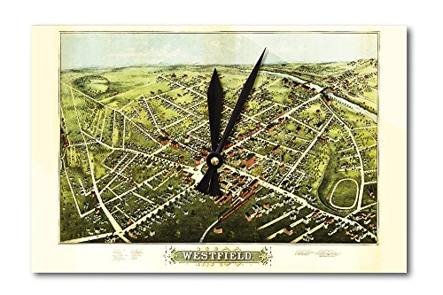 westfield-massachusetts-panoramic-map-acrylic-wall-clock