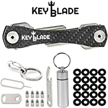 KeyBlade Carbon Key Holder Keychain- Smart Compact Pocket Keys Organizer Up To 24 Keys- Lightweight & Durable- Free Bottle Opener, Carabiner, & More- Made Of Carbon Fiber & Stainless Steel
