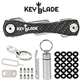 Keyblade Carbon Key Holder Keychain- Smart Compact Pocket Keys Organizer up to 24 Keys- Lightweight & Durable- Free Bottle Opener, Carabiner, More- Made of Carbon Fiber & Stainless Steel