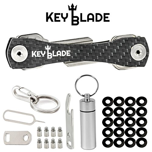 KeyBlade Carbon Key Holder Keychain- Smart Compact Pocket Keys Organizer Up To 24 Keys- Lightweight & Durable- Free Bottle Opener, Carabiner, & More- Made Of Carbon Fiber & Stainless Steel (Pocket Holder Key)