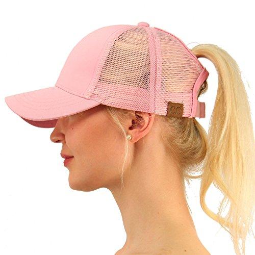 - C.C Ponytail Messy Buns Trucker Ponycaps Plain Baseball Visor Cap Dad Hat Pink