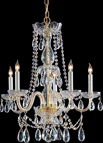 Crystorama 1125-PB-CL-S Crystal Five Light Chandelier from Traditional Crystal collection in Brass-Polished/Castfinish,