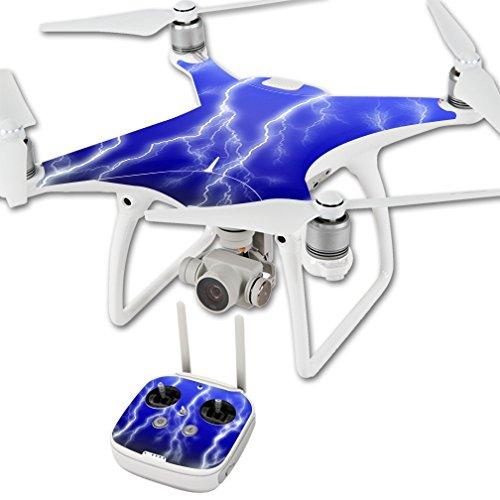 MightySkins Protective Vinyl Skin Decal for DJI Phantom 4 Quadcopter Drone wrap cover sticker skins Lightning Storm