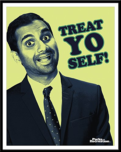 Culturenik Parks and Recreation Tom Haverford Treat Yo Self Workplace Comedy TV Television Show Poster Print, Framed 11x14