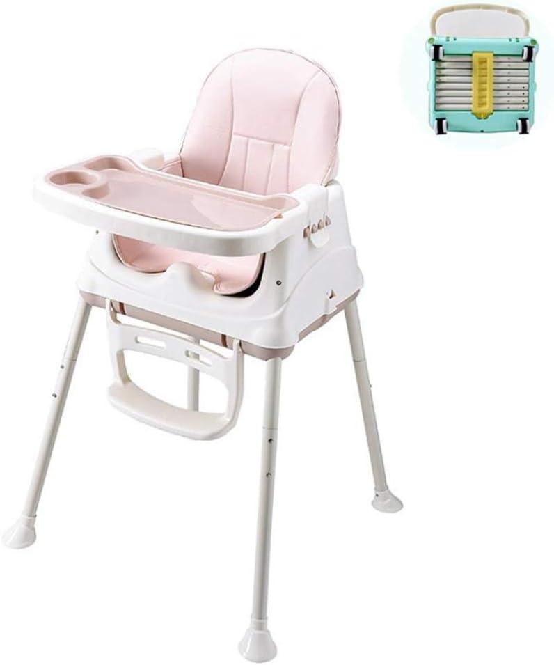 ベビーチェアハイチェア子ども椅子子供お食事椅子 幼児調節可能な折りたたみダイニングチェアベビーフード付きポータブル多機能ハイチェアクッションホイールブースターシート (Color : Pink)