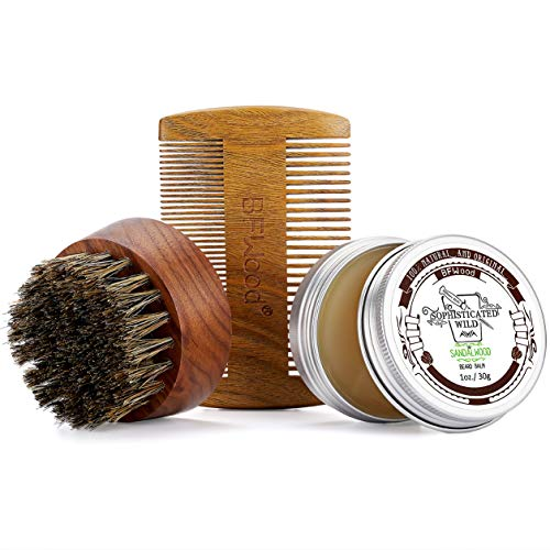 BFWood Beard Brush and Comb Set – Walnut Round Beard Brush & Sandalwood Beard Comb