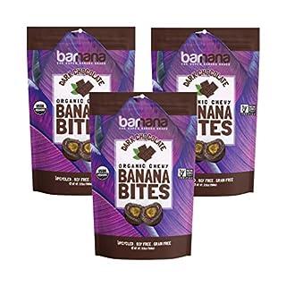 Barnana Organic Dark Chocolate Chewy Banana Bites - 3.5 Ounce, 3 Pack Bites - Delicious Coated Potassium Rich Banana Snacks - Lunch Dinner Sports Hiking Natural Snack - Whole 30, Paleo, Vegetarian