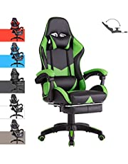Advwin Gaming Chair Racing Style, Ergonomic Design with Footrest Reclining Executive Computer Office Chair, Relieve Fatigue (Green)