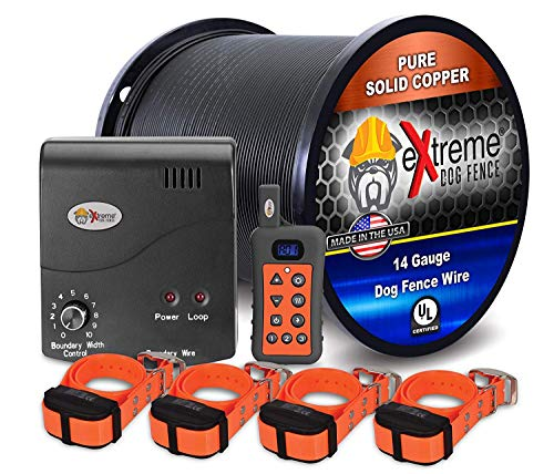 Electric Dog Fence + Remote Trainer - 4 Dog / 1000' of 14 Gauge Underground Dog Fence Wire (Up to 1 Acre) - Dual Solution to Contain and Train Your Dog(s) with a Single Collar ()
