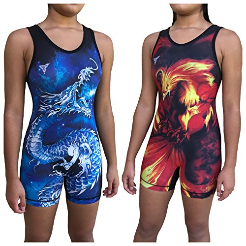 TRI-TITANS Ryū- Dragon vs Phoenix Reversible Red and Blue Sublimated Women's Wrestling Singlet - Freestyle Greco Roman Folkstyle - Red and Blue (Adult S: - Singlet Sublimated Custom Wrestling