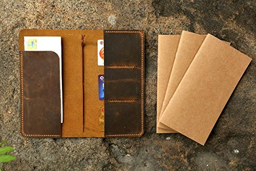amazon com personalized distressed leather midori travel journal