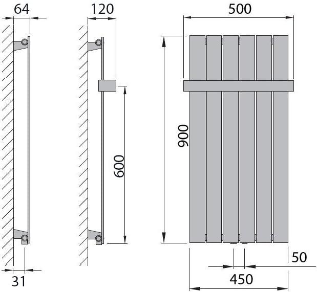 0900 x 298, Wei/ß 282 Watt nach EN442 Design Paneelheizk/örper Heizk/örper Badheizk/örper mit Mittelanschluss Handtuchstange Edelstahl alle Gr/ö/ßen
