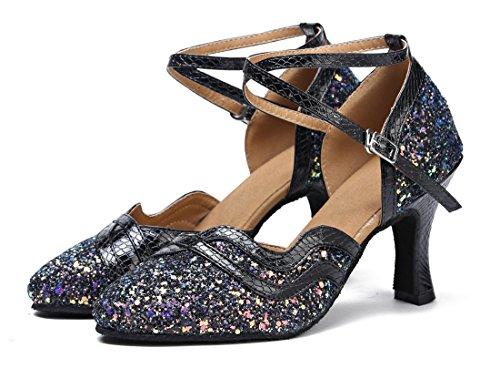 Tda Donna Chiusura Lampo Sintetico Moda Tacco Svasato Tango Ballroom Latino Ballo Scarpe Da Sposa 7.5 Cm Nero