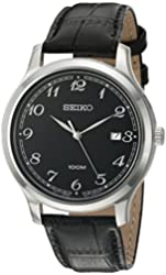 Seiko Men's Quartz Stainless Steel and Leather Dress Watch, Color:Black (Model: SUR189)