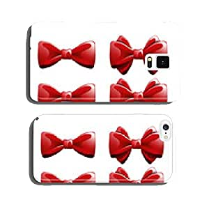 Set realistic red ribbons. Vector cell phone cover case iPhone6