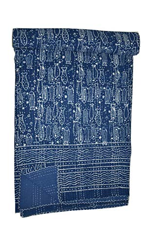 Indian Handmade Ikat Print Kantha Quilt Throw Bohemian Decor Bed Cover Reversible Cotton Bedspread Vintage Floral Print Gudri Beach -