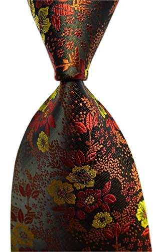 Secdtie Men's Brown Yellow Tie Floral Business Woven Paisley Party Necktie B06