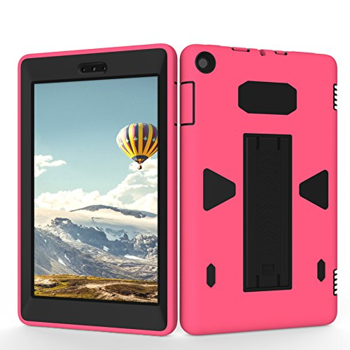 Teenystar Case for Amazon Fire HD 8 (2017 7th Generation),[3 in 1] Shock Proof High Impact Hybrid Drop Proof Armor Defender Protection Cover Built with Stand for All-New Fire HD 8 Tablet (Rose/Black)