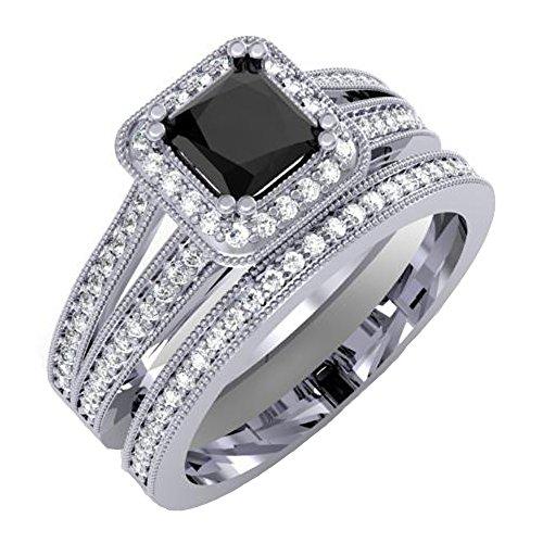 1.35 Carat (ctw) 18K White Gold Princess Black & Round White Diamond Halo Bridal Ring Set (Size 8)