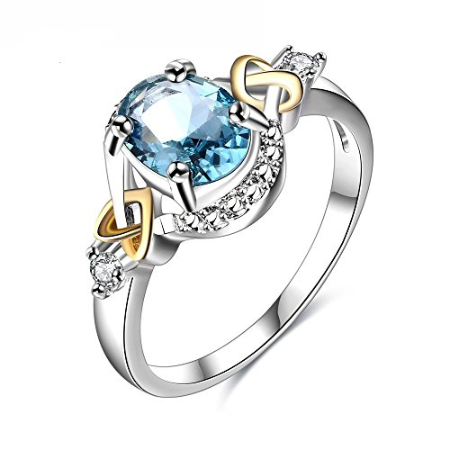 Women's Jewelry Hot Sale Platinum Circular Bead Cross Heart Blue Gemstone Wedding Ring